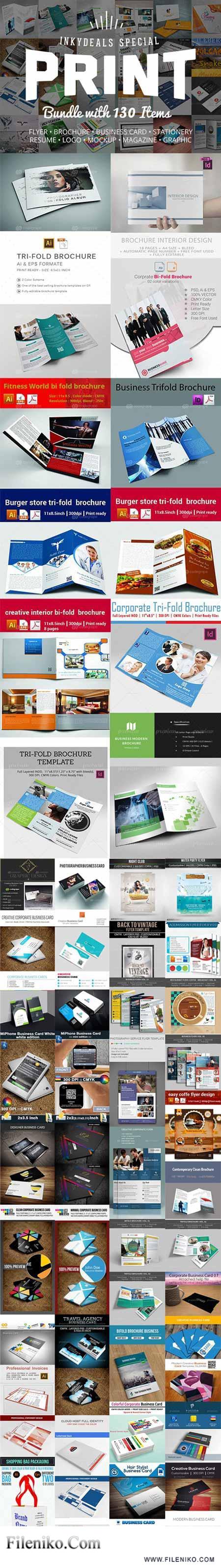 دانلود مجموعه تصاویر لایه باز بروشور، فلایر، مجله و پوسترهای تبلیغاتی The Ultimate Print Templates Bundle with 130 Items تصاویر پس زمینه و لایه باز مالتی مدیا